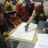 Residents of Bhuj work with Hunnarshala's team to plan the redevelopment of the city's informal settlements. Photo by Hunnarshala.