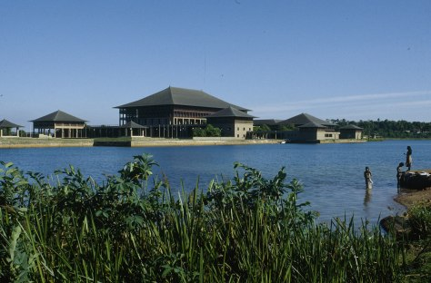 View from across the lake: The Parliament Complex in Kotte.