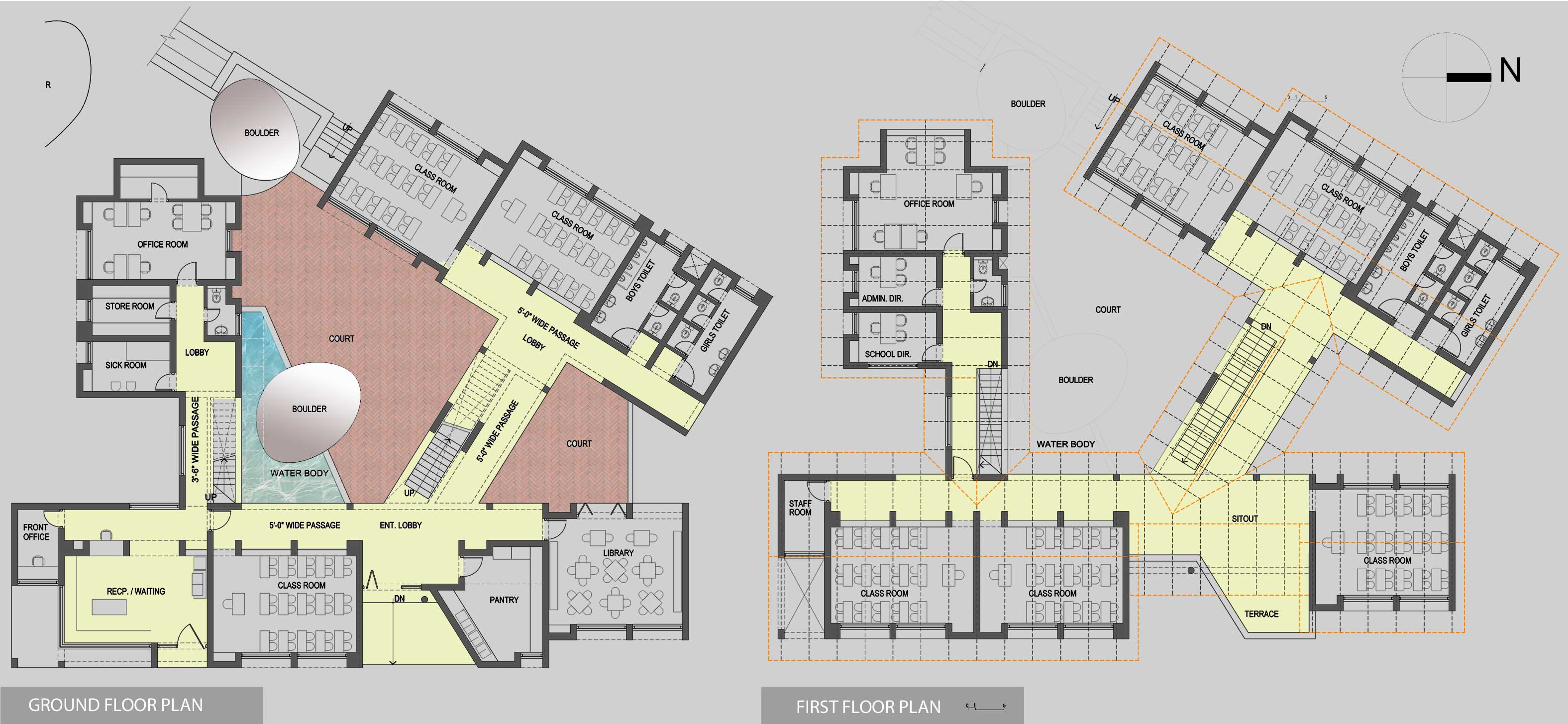 School Administration Block Floor Plan Modern House
