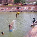 Village children playing in the Lake; one of their daily activitiies.