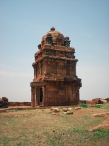 The lower Shivalaya Temple which has an octagonal dome representing the Dravidian Style of Architecture - now in ruins.