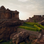 The Malegitti Shivalaya Temple is one of the beautiful and well preserved temples in Badami. It is situated on a great boulder below the western flank of the North Fort. Originally, the temple was dedicated to the Sun God but later it was converted to a Shiva Temple.