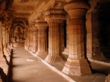 Beautifully carved Cave no. 3 where the columns are carved in such a way that they induce a feeling of motion.