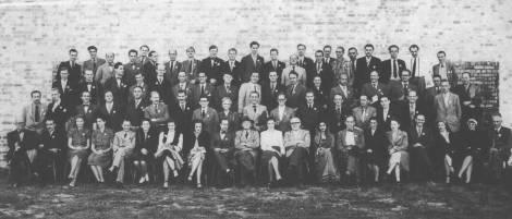 CIAM Bridgewater: Minnette de Silva seated bteween Gropius and van Esteren. Corbusier on extreme left, Archival Image