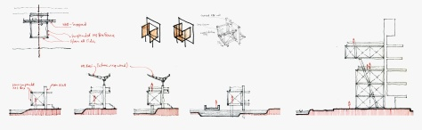Sketches: Timing Huts at the Rowing Channel. [Army Rowing Node Project]