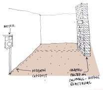 Plan showing the conduits. The idea was to hide the conduits in the floor and use the columns for lighting and electrical power-points. The columns were then proposed to be redressed with pinup boards and pasted graphics.