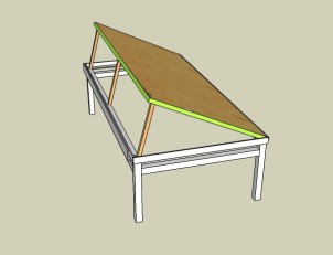 The table provides each student with an individual pinboard with a flexible top for drawing. It was created with the use of steel angles to support the plywood top frame.