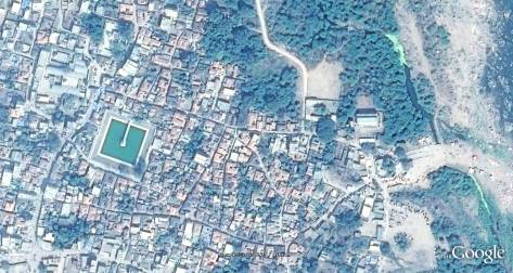 Satellite imagery showing the village fabric and structure of houses.