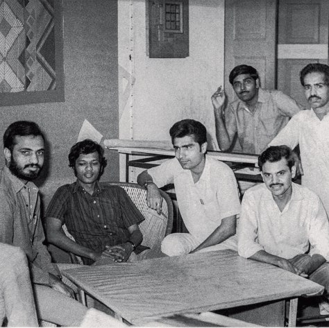 Architects in Hasmukh Patel's office in the mid 1960's when his office was located in Astodia, Ahmedabad. From the left: Navin Patel, Leo Pereira, S.Mashruwala, R.Desai, Kulin Dave, and model maker Balubhai Mistry