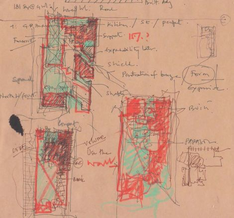 """This sketch is an exploration of opacity and transparency in plan which is a recurring consideration in our design process""-Parekh House initial drawing by Uday Andhare, 2015"