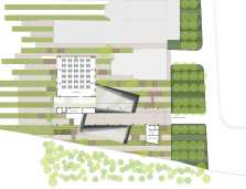 School of Architecture: Diagram of the continuous street running across the length of the building, connecting to the Student Activity Center.