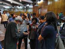 Professionals interacting with Prof Neelkanth Chhaya after the lecture.
