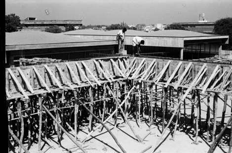 Main campus building under construction c.1965 | From Revisiting NID's History- Building National Institute of Design Exhibition Print | Image Courtesy: NID Archives