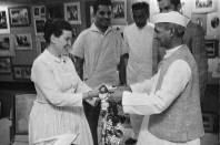 Ray Eames with Lal Bahadur Shastri, c.1964 | From Revisiting NID's History- Visiting Consultants of National Institute of Design Exhibition Print | Image Courtesy: NID Archives