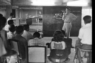 Charles Eames with NID Students, c.1964   From Revisiting NID's History- Visiting Consultants of National Institute of Design Exhibition Print   Image Courtesy: NID Archives