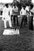 Product Design Exhibition, Shekhar Kamath (extreme right) with H.Kumar Vyas and Gautam Sarabhai, c.1969 | From Head, Hand & Heart- H.Kumar Vyas Exhibition Print | Image Courtesy: NID Archives