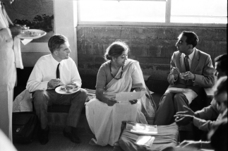 Dr. Frei Otto, Pupul Jaykar and Dr. Jamshed Bhabha, c.1965 | From Revisiting NID's History- Visiting Consultants of National Institute of Design Exhibition Print | Image Courtesy: NID Archives
