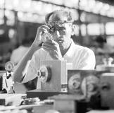 Mitter Bedi (1926-1985) | Workman at manufacturing plant, Godrej locks, Vikhroli (Mumbai) c.1970 | Image Courtesy: Mitter Bedi Collection, Godrej Archives
