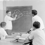 Mitter Bedi (1926-1985) | Dr. P. A. Joshi, Former Head, Central Design Department at Godrej & Boyce Mfg. Co. Ltd., discussing design of the typewriter with the design team c.1972 | Image Courtesy: Mitter Bedi Collection, Godrej Archives