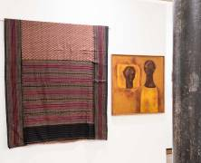 Haku Shah (b. 1934) for Weavers' Service Centre | Saree | 1959/60 | Cotton | Courtesy: the Artist and Chatterjee & Lal , Haku Shah (b. 1934) | Gossip | Circa 1985 | Oil on canvas | Courtesy: Jamshyd and Pheroza Godrej and Chatterjee & Lal