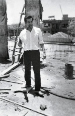 Mahendra Raj at a construction site.