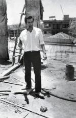 Mahendra Raj at a construction site.