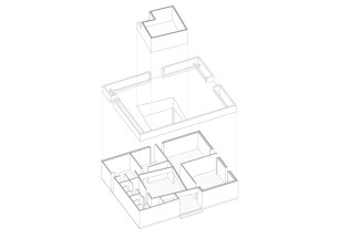 An exploded axonometric investigating proportion and position of the central space with respect to the collective layout