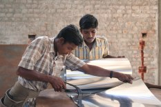 The metal sheet for roofing is then cut to size