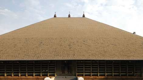 The roof shingles creating a visible account of the restoration process