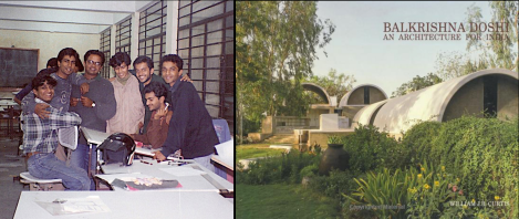 "[L]: Bijoy Ramachandran [third from right] in a Photograph from his College Days; and [R]: Cover of the Book ""An Architecture for India"" by William Curtis"