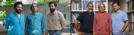 Premjit, Doshi and Bijoy in 2009 [L] and in 2019 [R]