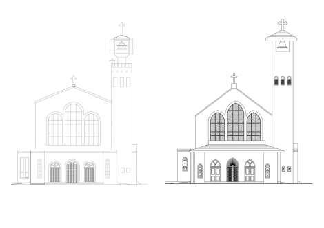 South (front) elevation: Before and After restoration